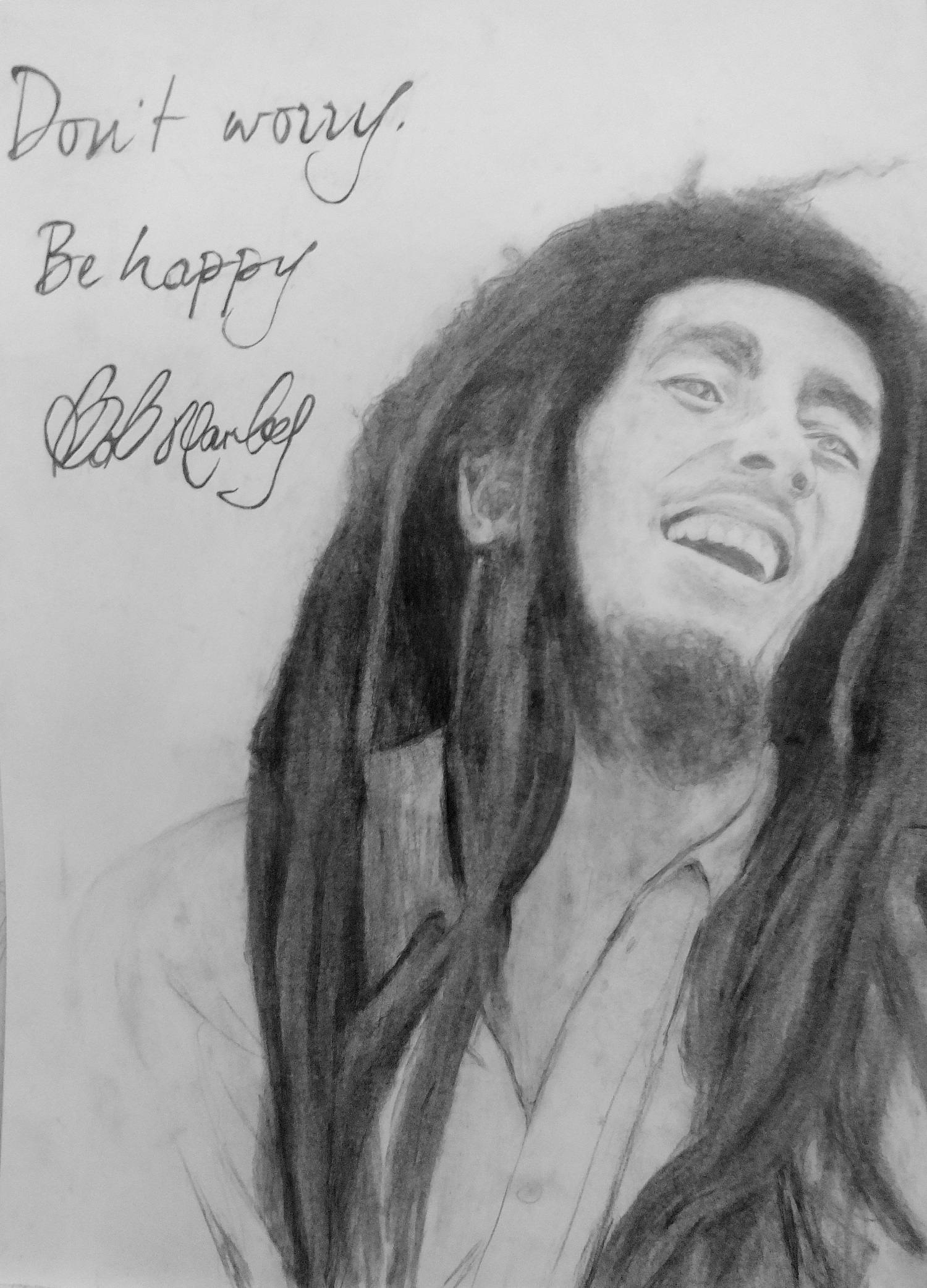 Bob Marley drawing by pencil