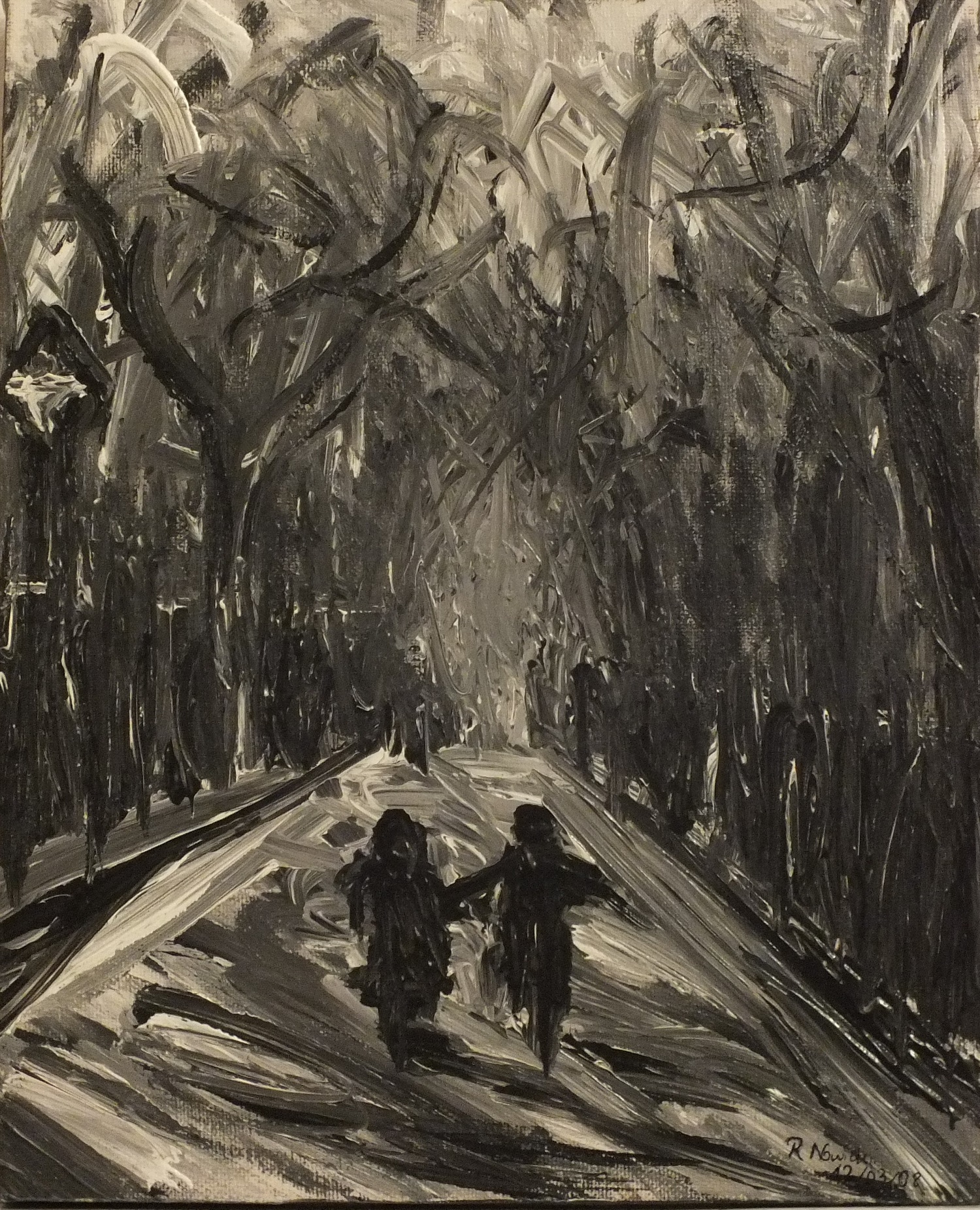 Friendship Kids running through the forest acrylic on canvas